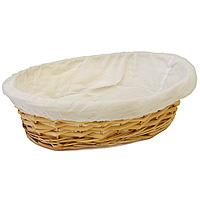 Корзинка для хлеба Dine овальная, 34 х 27 смВетерок 2ГФОвальная корзинка для хлеба Dine изготовлена из лозы. Она не требует особенного ухода: нужно всего-навсего регулярно смахивать пыль мягкой щеткой и раз в год предотвращать появление трещин, путем смачивания плетения водой с помощью губки. Для того, чтобы крошки не просыпались, к корзинке прикреплена хлопчатобумажная ткань на резинке. Корзинка очень практична и легка.В холодный зимний день приятная цветовая гамма корзинки в сочетании с оригинальным дизайном навевают воспоминания о лете, тем самым способствуя улучшению настроения и полноценному отдыху. Характеристики: Материал: лоза, хлопок. Размеры корзинки: 34 см х 27 см. Высота корзинки: 8 см. Производитель: Великобритания. Артикул: 1900418.
