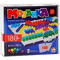 Мозаика - увлекательная развивающая игра для ваших детей. Она разовьет у ребенка творческие способности, воображение, координацию движений, мелкую моторику рук и ориентировку на плоскости. В комплект входит 180 фишек шести цветов, 2 игровых поля и три фишки для соединения полей. Рисунки, представленные на упаковке, являются только примером, так как эта универсальная мозаика раскрывает перед ребенком неограниченные возможности моделирования и создания множества своих собственных рисунков.
