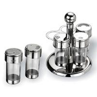 Набор для специй Vitesse Margo, 6 предметов115510Набор для специй Margo состоит емкости для какао порошка, универсальной емкости для специй, перечницы, солонки, подставки для зубочисток и вращающейся металлической подставки. Емкости выполнены из нержавеющей стали и прозрачного пластика. Крышки емкостей снабжены резьбой, которая обеспечивает плотное прилегание крышки, и позволяет долгое время сохранить специи свежими.Данный набор - оригинальное решение для современной кухни. Характеристики:Диаметр емкости:4 см.Высота емкости:10,2 см.Материал:нержавеющая сталь, пластик.Артикул:VS-1080.Кухонная посуда марки Vitesseиз нержавеющей стали 18/10 предоставит Вам все необходимое для получения удовольствия от приготовления пищи и принесет радость от его результатов. Посуда Vitesse обладает выдающимися функциональными свойствами. Легкие в уходе кастрюли и сковородки имеют плотно закрывающиеся крышки, которые дают возможность готовить с малым количеством воды и экономией энергии, и идеально подходят для всех видов плит: газовых, электрических, стеклокерамических и индукционных. Конструкция дна посуды гарантирует быстрое поглощение тепла, его равномерное распределение и сохранение. Великолепно отполированная поверхность, а также многочисленные конструктивные новшества, заложенные во все изделия Vitesse, позволит Вам открыть новые горизонты приготовления уже знакомых блюд. Для производства посуды Vitesseиспользуются только высококачественные материалы, которые соответствуют международным стандартам.