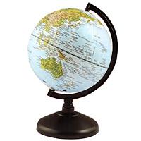 Глобус с физической картой мира на удобной подставке, вращается вокруг собственной оси. Изготовлен из высококачественного пластика. Яркие цвета и точная картография. Все географические обозначения даны на русском языке.