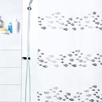 Штора Shore silver, 180х20068/5/3Штора для ванной комнаты Shore silver с изображением рыбок изготовлена из полиэтиленвинилацетата. В верхней кромке шторы сделаны отверстия для колец. Штору можно стирать только руками. Шторы от компанииSpirella отличает яркий, красочный дизайн рисунков и высокое качество (гарантия на изделие 3 года). Сделайте Вашу ванную комнату еще красивее! Характеристики: Материал: пластик. Размер шторы: 180 см х 200 см. Цвет рисунка: серебристый. Производитель: Швейцария. Артикул: 1011571.