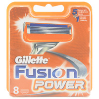 GilletteСменные кассеты для бритья Fusion Power, 8 штGIL-75048875Gillette - лучше для мужчины нет!Технология 5-лезвийной бреющей поверхности: 5 лезвий PowerGlide, расположенных ближе друг к другу, позволяют снизить давление на кожу для уменьшения раздражения и большего комфорта чем у Mach3. Микроимпульсы снижают трение и обеспечивают более гладкое скольжение бритвы.15 специальных микро гребней Fusion помогают разглаживать неровную поверхность кожи, позволяя 5 лезвиям скользить максимально гладко. Увлажняющая полоска теряет цвет, сигнализируя о необходимости сменить лезвие.При покупке упаковки сменных кассет Fusion или Fusion Power из 8 шт. вы экономите до 20% по сравнению с покупкой четырех упаковок из 2 шт. (на основании отпускной цены Procter&Gamble).- Технология из 5 лезвий обеспечивает меньшее давление на кожу по сравнению с бритвами Mach 3.- Улучшенная увлажняющая полоска обеспечивает еще более плавное скольжение картриджа по поверхности кожи по сравнению с бритвами Mach 3.- Лезвие-триммер оптимизирует бритье на сложных участках, таких как виски, область под носом и шея.Товар сертифицирован.
