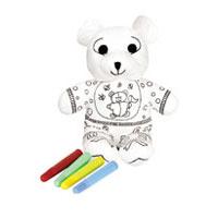 """Вашему вниманию предлагается игрушка-раскраска """"Нарядный мишка"""". Игрушка-раскраска с набором фломастеров позволяет ребенку проявить всю свою фантазию и раскрасить мишку по своему вкусу. Игрушка подлежит стирки и повторному раскрашиванию. Игрушка развивает у ребенка мелкую моторику, цветовое восприятие, творческие способности."""