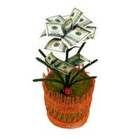 Денежный цветок Расцвет бизнеса. Доллары, цвет: красный, зеленый, белый030551006Настольная композиция выполнена в виде симпатичного денежного цветка. На пластиковое основание цветка насажены миниатюрные купюры-дубли достоинством в 100 долларов.Цветок закреплен в стеклянном стакане-горшочке, оформленном текстильной сеткой. У основания цветка расположена забавная божья коровка. Характеристики: Высота:14,5 см. Материал:стекло, пластик, бумага. Производитель:Россия. Артикул:89968. УВАЖАЕМЫЕ КЛИЕНТЫ! Обращаем ваше внимание на ассортимент в цветовом дизайне товара. Поставка осуществляется в зависимости от наличия на складе.