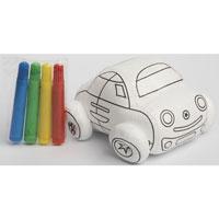"""Игрушка-раскраска """"Волшебный автомобиль"""" симпатичная и очень мягкая, ребенок будет с удовольствием ее раскрашивать, а потом и играть с ней. Игрушка развивает мелкую моторику, цветовое восприятие и творческие способности."""