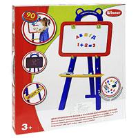 """Двустороння магнитная доска """"Winner"""" привлечет внимание Вашего малыша и не позволит ему скучать. Набор состоит из доски, установленной на штатив, магнитных букв, знаков и цифр, специального фломастера и мелков для рисования. Одна сторона доски имеет магнитную поверхность для букв и цифр, а вторая - поверхность для рисования мелками. В набор входят два набора русской магнитной азбуки и два набора цифр и знаков. На штативе есть специальная полка-подставка для аксессуаров. Такой комплект идеально подойдет как для игры, так и для учебы."""