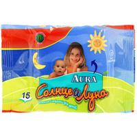 Влажные салфетки для детей Aura Солнце и Луна, 15 шт бутылочка aura солнце и луна полипропилен 125 мл прозрачный