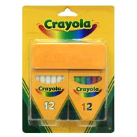 """Набор школьных мелков """"Crayola"""" состоит из 12 белых мелков, 12 разноцветных мелков и губки для стирания. Мелки не рассыпаются, не образуют пыль и не создают аллергических реакций."""