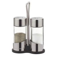 Набор Tescoma: солонка и перечница. 650320VT-1520(SR)Набор Tescoma, состоящий из солонки и перечницы, изготовлен из первоклассной нержавеющей стали и стекла. Солонка и перечница легки в использовании: стоит только перевернуть емкости, и вы с легкостью сможете поперчить или добавить соль по вкусу в любое блюдо.Дизайн, эстетичность и функциональность набора позволят ему стать достойным дополнением к кухонному инвентарю. Обработка поверхности металлических частей – сильный блеск. Характеристики: Материал:стекло, сталь. Высота емкости: 8,5 см. Диаметр основания: 3,5 см. Размер упаковки: 9 см х 4,5 см х 13,5 см. Производитель: Чехия. Артикул:650320.