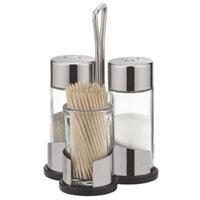 Набор Tescoma: солонка, перечница, подставка под зубочистки. 650322650322Набор Tescoma, состоящий из солонки, перечницы и подставки под зубочиски, изготовлен из первоклассной нержавеющей стали и стекла. Солонка и перечница легки в использовании, с ними вы с легкостью сможете поперчить или добавить соль по вкусу в любое блюдо. Интересный дизайн, эстетичность и функциональность набора позволят ему стать достойным дополнением к кухонному инвентарю. Характеристики:Материал: стекло, нержавеющая сталь. Диаметр емкости для специй: 3 см. Высота емкости для специй: 8,5 см. Диаметр подставки под зубочистки: 3,5 см. Высота подставки под зубочистки: 5,5 см. Размер подставки: 8,5 см х 6,5 см х 12 см. Производитель: Чехия. Артикул: 650322.</ul