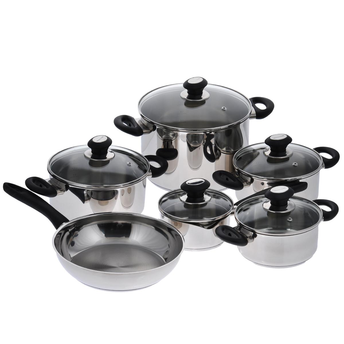 Набор посуды Tescoma Presto, 11 предметов391602Набор посуды Tescoma Presto состоит из 4 кастрюль с крышками, ковша с крышкой и сковороды. Изделия выполнены из первоклассной нержавеющей стали с зеркальной полировкой. Массивная конструкция посуды и идеальная обработка соответствуют самым высоким требованиям, предъявляемым к здоровому, удобному и экономному приготовлению.Изделия снабжены экстра толстым многослойным дном. Тепло с плиты передается вовнутрь посуды постепенно, без скачков и равномерно по целой площади дна - температура внутри посуды не меняется. Это упрощает варку и запекание, можно готовить с ограниченным количеством жира и без пригорания. Многослойное дно обладает замечательными термоаккумуляционными свойствами, которые помогают экономить энергию. Плиту и духовку можно выключить заранее перед окончанием приготовления, которое проходит и при низкой мощности плиты. Блюда, оставленные в посуде, дольше сохраняют свою температуру. Изделия снабжены эргономичными ручками из прочной пластмассы, которые при правильном обращении не обжигают руки. Крышки из стекла и нержавеющей стали способствуют идеальному контролю за приготовлением. Посуда имеет шкалу литража для удобного отмеривания. Ковш с обеих сторон оснащен носиками, а крышка имеет отверстия двух размеров для удобного процеживания. Посуда серии Presto соответствует всем требованиям к посуде для интенсивного и длительного использования. Внешняя и внутренняя обработка поверхности гарантирует элегантный внешний вид, а также простое и быстрое мытье.Посуда пригодна для газовых, электрических, стеклокерамических, индукционных плит. Можно мыть в посудомоечной машине.
