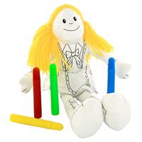 """Игрушка-раскраска """"Девочка"""" симпатичная и мягкая, ребенок будет с удовольствием ее раскрашивать, а потом и играть с ней. Игрушка развивает мелкую моторику, цветовое восприятие и творческие способности."""