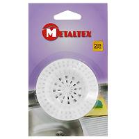 Сито-фильтр для раковины Metaltex, 2 шт115510Сито-фильтр Metaltex имеет специальное углубление для раковины и выполнен из пластика. Сито-фильтр поможет предотвратить засорение вашей раковины.Характеристики:Материал: пластик. Диаметр: 7 см. Количество: 2 шт.