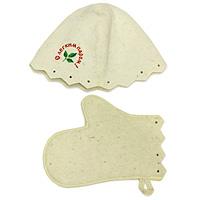 Комплект для бани и сауны Eva, Б15531-402Комплект для сауны и бани Eva состоит из шляпы и варежки. Такой набор станет незаменимым для любителей попариться в русской бани и для тех, кто предпочитает сухой жар финской бани. Необычный дизайн изделий поможет сделать ваш отдых более приятным и разнообразным. Комплект станет отличным подарком для любителей отдыха в бане или сауне. Характеристики: Материал: шерсть. Диаметр основания шляпы: 35 см. Высота шляпы: 23 см. Размер варежки:28 см х 16 см. Производитель: Россия. Артикул: Б15.