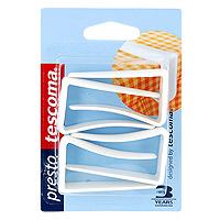 Набор клипс для скатерти Tescoma, 4 шт. 42081021395599Набор Tescoma состоит из 4 клипс. Клипсы идеально подойдут для фиксирования скатерти на столе. Изделия выполнены из прочного пластика.Характеристики: Материал: пластик. Высота: 5,5 см.Комплектация: 4 шт. Производитель: Чехия. Артикул: 420810.