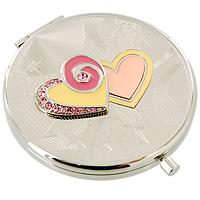 Зеркало косметическое Два сердца1214MИзящное двустороннее зеркальце Два сердца серебристого цвета станет идеальным подарком представительнице прекрасного пола, ведь даже самая маленькая дамская сумочка обязательно вместит в себя миниатюрное зеркальце - атрибут каждой модницы. Круглый корпус зеркала выполнен из высококачественной стали с зеркальной поверхностью и оформлен декоративным тиснением, объемными сердцами и хрустальными стразами. Под корпусом расположены два зеркальца - обычное и увеличивающее. В комплект входит специальный чехол из искусственной замши для хранения зеркальца, а упаковано оно в фирменную подарочную коробку нежного розового цвета. Характеристики:Диаметр корпуса зеркала: 6,5 см. Материал: сталь, эмаль, хрусталь, текстиль. Размер упаковки: 11 см x 12,5 см x 3 см. Производитель: Франция. Изготовитель: Китай. Артикул: 98-0563A.Изысканные сувениры Jardin dEte отличаются одновременно эстетической красотой и функциональностью и создают неповторимое настроение. Стильные аксессуары вносят индивидуальность, утонченность, и изысканность не только в интерьер дома, но и в повседневную жизнь.