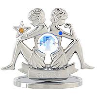 Сувенир Знаки зодиака: Близнецы, цвет: серебристый, 7 смFS-80299Декоративное изделие, выполненное в виде знака зодиака Близнецы, с голубым кристаллом Swarovski посередине, а также двумя кристаллами синего и желтого цветов, изготовлено из высококачественной стали. Оригинальный сувенир будет отличным подарком для ваших друзей и коллег.Более 30 лет компания Crystocraft создает качественные, красивые и изящные сувениры, декорированные различными кристаллами Swarovski.Характеристики:Материал:сталь, кристаллы Swarovski. Высота:7 см. Размер упаковки:9,5 см х 11 см х 4,5 см. Артикул:U0259-001-CBLB. Производитель: Китай.
