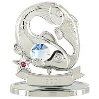 Сувенир Знаки зодиака: Рыбы, цвет: серебристый, 7,5 см514-1033Декоративное изделие, выполненное в виде знака зодиака Рыбы, с голубым кристаллом Swarovski посередине, а также с розовым и двумя бесцветным кристаллами, изготовлено из высококачественной стали. Оригинальный сувенир будет отличным подарком для ваших друзей и коллег.Более 30 лет компания Crystocraft создает качественные, красивые и изящные сувениры, декорированные различными кристаллами Swarovski. Характеристики:Материал:сталь, кристаллы Swarovski. Высота:7,5 см. Размер упаковки:9,5 см х 11 см х 4,5 см. Артикул:U0268-001-CBLB. Производитель:Китай.