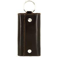 Ключница Befler Classic, цвет: темно-коричневый. KL.3.-1Серьги с подвескамиКомпактная ключница Befler Classic - стильная вещь для хранения ключей. Ключница, закрывающаяся на две кнопки, выполнена из натуральной кожи высокого качества. Внутри ключницы расположены шесть металлических карабинов для ключей и дополнительное наружное кольцо для крепления.