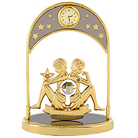 Сувенир с часами Знак зодиака: Близнецы, цвет: золотойSC - WC1005KСувенир с часами Знак зодиака: Близнецы, золотого цвета, станет необычным аксессуаром для Вашего интерьера и создаст незабываемую атмосферу. Кристаллы, украшающие сувенир, носят громкое имяSwarovski. Ограненные, как бриллианты, кристаллы блистают сотнями тысяч различных оттенков.Эта очаровательная вещь послужит отличным подарком близкому человеку, родственнику или другу, а также подарит приятные мгновения и окунет Вас в лучшие воспоминания. Характеристики: Материал: металл (углеродистая сталь, покрытие золотом 0,05 микрон), австрийские кристаллы. Размер: 13,5 см х 10 см х 4,5 см. Диаметр циферблата часов: 2 см. Цвет: золотой. Размер упаковки: 14 см х 7,5 см х 10,5 см. Изготовитель: Польша. Артикул: 67326. Более чем 30 лет назад компанияCrystocraftвыросла из ведущего производителя в перспективную торговую марку, которая задает тенденцию благодаря безупречному чувству красоты и стиля. Компания создает изящные, качественные, яркие сувениры, декорированные кристалламиSwarovskiразличных размеров и оттенков, сочетающие в себе превосходное мастерство обработки металлов и самое высокое качество кристаллов. Каждое изделие оформлено в индивидуальной подарочной упаковке, что придает ему завершенный и презентабельный вид.