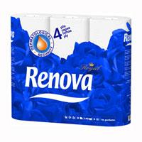 Туалетная бумага Renova Royal, ароматизированная, 9 рулоновNN-604-LS-BUАроматизированная туалетная бумага Renova Royal - изысканная роскошь повседневности.Четырехслойная туалетная бумага с нежным ароматом прочная и очень мягкая. Ароматизированная туалетная бумага Renova Royal подарит коже комфорт и нежность. Характеристики:Материал:100% парфюмированная целлюлоза.Количество листов:140 шт. Количество слоев:4. Размер листа:11,5 см х 9,7 см. Длина рулона:16,1 м. Количество рулонов:9 шт. Производитель:Португалия.Товар сертифицирован.Португальская компанияRenovaявляется ведущим разработчиком новейших технологий производства, нового стиля и направления на рынке гигиенической продукции. Современный дизайн и высочайшее качество, дерматологический контроль - это то, что выделяет компаниюRenova среди других производителей бумажной санитарно-гигиенической продукции.