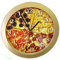 Настенные античасы Пицца300074_ежевикаНастенные кварцевые античасы Пицца своим эксклюзивным дизайном подчеркнут оригинальность интерьера Вашего дома. Циферблат часов оформлен изображением пиццы, разрезанной на 12 кусков. Такие часы украсят вашу комнату и приведут в восхищение друзей. Характеристики: Материал: пластик. Диаметр часов: 27,5 см. Размер упаковки: 28,5 см х 28,5 см х 4,5 см. Производитель:Россия. Артикул: 91501.Питание: 1 батарейка мощностью 1,5V типа АА (не входит в комплект).