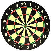 Набор для игры в дартс. DG521810BDG521810BНабор для игры в дартс состоит из мишени и шести дротиков. Мишень изготовлена из прессованной бумаги с напечатанными цифрами. Игра в дартс - это состязание в умении точно метать дротики, которого при желании можно достичь в относительно короткий срок. Играть в дартс можно как под открытым небом, так и в закрытом помещении (в спортивном зале, в кафе, в обычной квартире). Дартс не требует специальной спортивной формы, а инвентарь для игры прост и долговечен. Для играющих в дартс не существует языковых и возрастных барьеров, соревноваться могут и взрослые, и дети. Дартс доступен всем, он гуманен и демократичен. Дартс - на редкость увлекательная и зрелищная игра. Это прекрасное средство для проведения досуга и поднятия настроения. Это - игра друзей, игра среди друзей, игра, помогающая обрести друзей. Кроме всего прочего дартс, как и любой вид спорта, несет и пользу. Метание дротиков способствует развитию мелкой моторики, улучшает зрение, концентрацию, развивает арифметические способности. Характеристики: Материал: прессованная бумага, металл. Диаметр мишени: 45 см. Длина дротика: 11 см. Изготовитель: Китай. Артикул: DG521810B.