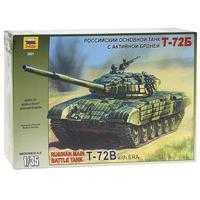 """Сборная модель """"Российский основной танк с активной броней Т-72Б"""" привлечет внимание не только ребенка, но и взрослого и позволит своими руками создать уменьшенную копию известного танка. Этот танк модификации 1985 года снабжен улучшенной 125-мм пушкой, комплексом управляемого ракетного вооружения 9К120 """"Свирь"""" (АТ-11 Sniper), усиленной броневой защитой башни. Кроме этого на танк ставится навесная активная защита, состоящая из 227 контейнеров, почти половина из которых размещается на башне."""