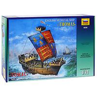 """Сборная модель """"Английский средневековый корабль """"Томас"""" привлечет внимание не только ребенка, но и взрослого и позволит своими руками создать уменьшенную копию великолепного корабля. 24 июня 1340 года произошло грандиозное морское сражение при Слюйсе, которое позволило англичанам завоевать господство на море, сохранявшееся за ними в ходе всей Столетней войны. Слюйс - это гавань города Брюгге во Фландрии, который в XIV веке являлся центром мировой торговли: почти весь грузовой оборот Англии с континентом шел через него. В битве при Слюйсе флот Англии из 250 кораблей под командованием короля Эдуарда III, находившегося на борту флагманского когга """"Томас"""", полностью уничтожил французскую эскадру адмирала Гуго Кирье, состоявшую из 400 кораблей."""