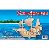"""Сборная деревянная модель """"Санта Мария"""" позволит Вам и Вашему ребенку собрать объемную деревянную конструкцию в виде флагманского корабля, на которм Колумб открыл Америку. Модель для сборки развивает мелкую моторику, ителлектуальные способности, воображение и конструктивное мышление, тренирует терпение и усидчивость."""