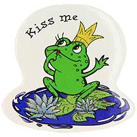 Магнит Kiss meKT400(4)Магнит с изображением лягушки в короне и надписью Kiss me - приятный и оригинальный штрих в повседневной жизни. Магнит оформлен блестками.Создайте в своем доме атмосферу тепла, веселья и радости, украшая его всей семьей.