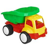 """Яркий грузовик """"Жук"""" обязательно понравится малышу и доставит ему много удовольствия от часов, посвященных игре с ним. Грузовик имеет вместительный кузов и большие колеса. Занятия с такой игрушкой помогут малышу развить цветовое восприятия, воображение и мелкую моторику рук. Порадуйте своего малыша таким замечательным подарком!"""