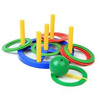 """С ярким игровым набором 2 в 1 """"Кольцеброс. Поймай шарик"""" вы сможете весело провести время, соревнуясь в ловкости. Кольцеброс состоит из круглого основания с пятью отверстиями. В отверстия вставлены столбики, на которые надо будет забрасывать кольца. В набор также входит пластиковый шар. Разложите кольца на ровной поверхности, и попробуйте попасть в них шариком. Устройте соревнования на меткость!"""
