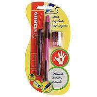 Набор Stabilo Leftright, для правшей, цвет: розовый, 3 предмета34230EG006KSАвтокарандаш Stabilo LR д/лев. 6613 (д/правш.6623). В наборе: Карандаш механический STABILO LeftRightФутляр с 8 грифелями 2,0 НВ Точилка для грифеля 2,0 ммМеханический карандаш для обучения правильной технике письма детей дошкольного и младшего школьного возраста.Позволяют эффективно, легко и быстро научить или переучить ребенка правильно держать пишущий инструмент при письме или рисовании и сформировать красивый почерк.Трехгранная зона обхвата с углублениями для пальцев обеспечивает удобное положение пальцев и кисти в соответствии с правилами техники письма.Углубления расположены на таком расстоянии от пишущего узла, чтобы ребенок мог видеть то, что пишет, не наклоняя голову и корпус. Длина и вес пишущего инструмента уменьшены, чтобы исключить неблагоприятное действие рычага и минимизировать усилия, которые приходится прикладывать ребенку при письме. Корпус пластиковый трехгранный, прорезиненная зона обхвата. Утолщенный грифель 2мм, HB имеет повышенную стойкость к поломкам и долго не тупится, благодаря своей мягкости оставляет яркий след без излишнего нажима. Характеристики: Толщина грифеля: 2 мм. Твердость карандаша:НВ. Длина карандаша:13 см. Размер упаковки:19 см х 9 см х 3 см.