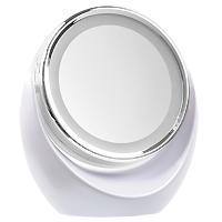 Gezatone Косметическое зеркало с 5х увеличением и подсветкой LM1101301203Двустороннее настольное косметологическое зеркало Gezatone с пятикратным увеличением и светодиодной подсветкой доставит Вам удовольствие в уходе за собой и станет незаменимым помощником для любой современной женщины. Одна сторона зеркала представляет собой стандартное зеркало. Вторая - имеет пятикратный увеличивающий эффект, что позволяет проводить косметические процедуры по уходу за лицом.Дополнительный комфорт создает наличие круговой мягкой светодиодной подсветки с обеих сторон. Это позволяет более детально рассмотреть проблемные участки на лице и наносить маккиях с идеальной точностью.Отличительная особенность модели - способность зеркальной поверхности вращаться на 360 градусов. Благодаря современному эргономичному дизайну зеркало впишется в любой интерьер.Подсветка работает от 3 батареек 1,5V типа АА (не входят в комплект). Характеристики: Материал: зеркало, пластик. Диаметр зеркальной поверхности: 13,4 см.Рекомендуется докупить 3 батарейки 1,5V типа АА.