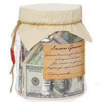 Банка Зелень сушеная74-0060Банка Зелень сушеная представляет собой пластиковую банку, доверху наполненную долларовыми банкнотами различного номинала. Такая банка станет отличным подарком и, несомненно, удивит и порадует ее получателя.Характеристики: Материал: пластик, бумага. Высота: 16,5 см. Диаметр: 12,5 см. Изготовитель: Китай. Артикул: 91986.