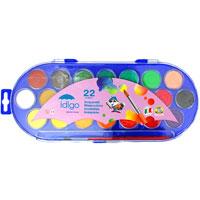 """Акварельные краски """"Idigo"""" идеально подойдут для детского и художественного изобразительного искусства. Яркие, насыщенные цвета отлично смешиваются между собой и дают множество оттенков. Рисование развивает мелкую моторику ребенка, чувство цвета, позволяет малышу выразить свое эмоциональное состояние. В наборе краски 22 цветов и кисточка."""