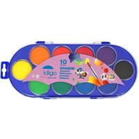 """Акварельные краски """"Idigo"""" идеально подойдут для детского и художественного изобразительного искусства. Яркие, насыщенные цвета отлично смешиваются между собой и дают множество оттенков. Рисование развивает мелкую моторику ребенка, чувство цвета, позволяет малышу выразить свое эмоциональное состояние. В наборе краски 10 цветов и кисточка."""