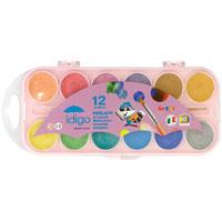 """Акварельные перламутровые полусухие краски """"Idigo"""" идеально подойдут для детского и художественного изобразительного искусства. Нежные, насыщенные цвета отлично смешиваются между собой и дают множество оттенков. После высыхания рисунок будет переливаться на свету. Рисование развивает мелкую моторику ребенка, чувство цвета, позволяет малышу выразить свое эмоциональное состояние. В наборе краски 12 цветов и кисточка."""
