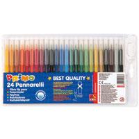 """Набор """"Primo"""" состоит из 24 цветных фломастеров с вентилируемыми колпачками. Фломастеры рисуют яркими насыщенными цветами. Чернила легко смываются с рук и одежды. Фломастеры """"Primo"""" не высыхают, находясь без колпачка до 5 дней. Подходят для рисования на различных поверхностях."""
