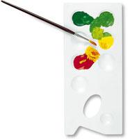 """Прямоугольная палитра """"Primo"""", изготовленная из пластика, предназначена для смешивания красок. Палитру можно держать в руке, благодаря специальному отверстию для большого пальца, или положить рядом."""