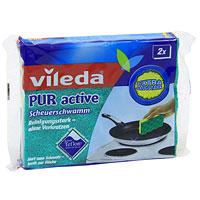 Губка для плит Vileda Pur Active, 2 шт85056Инновационная, эксклюзивная, запатентованная технология. Одобрено для использования на антипригарных покрытиях DuPont Teflon. Абразивная часть очищает, не оставляя царапин. Вискозная часть хорошо впитывает влагу и протирает поверхность.