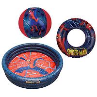 Набор для плавания Spiderman, 3 предмета. 1394609UCR1126 BK/BKНабор для плавания Spiderman, изготовленный из ПВХ, состоит из надувного бассейна, надувного круга и мяча. Все предметы набора оформлены изображением Человека-паука - героя знаменитого комикса. Благодаря компактным размерам бассейн можно устанавливать не только на улице, но и дома, а также его всегда можно брать с собой. Такой набор станет незаменимым атрибутом летнего отдыха.Spiderman- известный комикс о супергерое - Человеке-пауке. Подростка Питера Паркера кусает радиоактивный паук во время научной демонстрации. Благодаря этому он получает паучьи сверхспособности, как, например, суперсилу, способность передвигаться по стенам и феноменальную прыгучесть. Характеристики:Размер бассейна: 108 см х 20,8 см х 108 см. Размер упаковки: 28 см х 20 см х 4 см. Изготовитель: Китай.