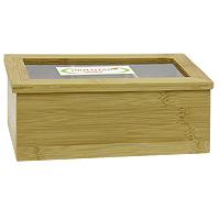 Ящик для хранения чая Oriental way. NL18120FA-5126-2 WhiteЯщик Oriental way, выполненный из бамбука, предназначен для хранения чая. В нем имеется три отделения. Ящик закрывается крышкой с прозрачной пластиковой вставкой, которая позволяет видеть содержимое. Ящик Oriental way займет достойное место на любой кухне и послужит украшением кухонного интерьера. Характеристики:Материал:бамбук, пластик. Размер: 21,5 см х 13 см х 9 см. Артикул: NL18120.Торговая марка Oriental way известна на рынке с 1996 года. Эта марка объединяет товары для кухни, изготовленные из дерева и других материалов. Все товары марки Oriental way являются безопасными для здоровья, экологичными, прочными и долговечными в использовании.