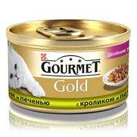 Консервы для кошек Gourmet Gold, с кроликом и печенью, 85 г0120710Корм Gourmet Gold консервированный полнорационный для взрослых кошек, с кроликом и печенью.Рекомендации по кормлению: Для взрослой кошки среднего веса требуется 4 баночки корма Gourmet Gold в день. Кормление необходимо разделить минимум на два приема. Индивидуальные потребности животного могут отличаться, поэтому норма кормления должна быть скорректирована для поддержания оптимального веса вашей кошки. Для беременных и кормящих кошек - кормление без ограничений. Подавать корм комнатной температуры.Следите, чтобы у вашей кошки всегда была чистая, свежая питьевая вода.Условия хранения: Закрытую банку хранить в сухом прохладном месте. После открытия продукт хранить максимум 24 часа.Состав: мясо и субпродукты (из которых кролика 4%, печени 4%), экстракт растительного белка, злаки, рыба и продукты переработки рыбы, сахара, минеральные вещества.Добавки МЕ/кг: Витамины: А 1540, D3 240; мг/кг железо 10,5, йод 0,3, медь 0,9, марганец 2,1, цинк 10,5.Гарантируемые показатели: влажность 81,5%, белок 10,0%, жир 3,0%, сырая зола 2,0%, сырая клетчатка 0,5%.Вес: 85 г.Товар сертифицирован.