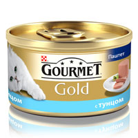 Консервы для кошек Gourmet Gold, паштет с тунцом, 85 г0120710Корм Gourmet Gold консервированный полнорационный для взрослых кошек.Рекомендации по кормлению: для взрослой кошки среднего веса требуется 4 баночки корма Gourmet Gold в день. Кормление необходимо разделить минимум на два приема. Индивидуальные потребности животного могут отличаться, поэтому норма кормления должна быть скорректирована для поддержания оптимального веса вашей кошки. Для беременных и кормящих кошек - кормление без ограничений. Подавать корм комнатной температуры.Следите, чтобы у вашей кошки всегда была чистая, свежая питьевая вода. Условия хранения: Закрытую банку хранить в сухом прохладном месте. После открытия продукт хранить максимум 24 часа.Состав: мясо и субпродукты, рыбаи продукты переработки рыбы (тунец 4%), продукты переработки овощей, минеральные вещества, сахара, консерванты.Добавленные вещества: МЕ/кг: Витамин А: 1440; витамин D3: 220. мг/кг: железо: 10; йод: 0,2; медь: 0,9; марганец: 1,9; цинк: 10. С консервантом.Гарантируемые показатели: влажность 77%, белок 11%, жир 7%, сырая зола 3%, сырая клетчатка 0,1%.Вес: 85 г.Товар сертифицирован.