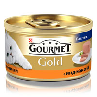 Консервы для кошек Gourmet Gold, паштет с индейкой, 85 г0120710Корм консервированный полнорационный для взрослых кошек, с индейкой.Рекомендации по кормлению:для взрослой кошки среднего веса требуется 4 баночки корма Gourmet Gold в день. Кормление необходимо разделить минимум на два приема. Индивидуальные потребности животного могут отличаться, поэтому норма кормления должна быть скорректирована для поддержания оптимального веса вашей кошки. Для беременных и кормящих кошек - кормление без ограничений. Подавать корм комнатной температуры.Следите, чтобы у вашей кошки всегда была чистая, свежая питьевая вода.Условия хранения:Закрытую банку хранить в сухом прохладном месте. После открытия продукт хранить максимум 24 часа.Состав: мясо и субпродукты (из которых индейки 4%), продукты переработки овощей, минеральные вещества, сахара, консерванты.Добавленные вещества: МЕ/кг: витамин A: 1440; витамин D3: 220 мг/кг; железо: 10; йод: 0,2; медь: 0,9; марганец: 1,9; цинк: 10. С консервантами.Гарантируемые показатели: влажность 77,0%, сырой белок 11,0%, сырой жир 7,0%, зола 3,0%, сырая клетчатка 0,1%.Товар сертифицирован.