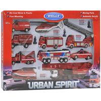 """Яркий игровой набор """"Пожарная служба"""" понравится вашему малышу и надолго займет его внимание. Игровой набор состоит из восьми машин, катера на прицепе, вертолета, трех фигурок пожарных и дорожных ограждений. У автокрана и пожарной машины выдвигаются стрелы, у буксира поднимается и крюк, а у вертолета вращаются лопасти. Все модели яркие по дизайну и приближенные к реальной технике. На двух машинах открывается багажник, у буксировщика вытягивается крюк, у вертолета вращаются лопасти, на машине для тушения возгораний раскладывается лестница. С таким набором ваш малыш будет играть часами, придумывая свои сюжеты."""