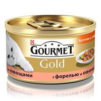 Консервы для кошек Gourmet Gold, с форелью и овощами, 85 г0120710Корм Gourmet Gold консервированный полнорационный для взрослых кошек, с форелью и овощами.Рекомендации по кормлению: Для взрослой кошки требуется 4 баночки корма Gourmet Gold в день. Кормление необходимо разделить минимум на два приема. Индивидуальные потребности животного могут отличаться, поэтому норма кормления должна быть скорректирована для поддержания оптимального веса вашей кошки. Для беременных и кормящих кошек - кормление без ограничений. Подавать корм комнатной температуры.Следите, чтобы у вашей кошки всегда была чистая, свежая питьевая вода.Условия хранения: Закрытую банку хранить в сухом прохладном месте. После открытия продукт хранить максимум 24 часа. Состав: мясо и субпродукты, злаки, рыба и продукты переработки рыбы (форель 4%), овощи (4%), сахара, минеральные вещества.Добавленные вещества: МЕ/кг: витамин A: 1290; витамин D3: 200. мг/кг: железо: 9; йод:0,2; медь: 0,8; марганец: 1,7; цинк: 9.Гарантируемые показатели: влажность 81,5%, белок 7%, жир 4,0%, сырая зола 2,0%, сырая клетчатка 0,1%.Вес: 85 г.Товар сертифицирован.
