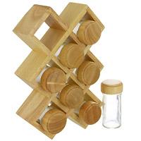 Набор для специй Oriental way 9 предметов BS4065VT-1520(SR)Набор для специй Oriental way изготовленный из древесины дерева гевея, прекрасно впишется в интерьер вашей кухни. В комплект входят: 8 баночек для специй и полка. Баночки для специй имеют надежно завинчивающиеся крышки и перфорированные накладки, позволяющие удобно приправлять блюда специями, не опасаясь рассыпать их.Отличительные особенности изделий из древесины дерева гевея:высокое качество шлифовки поверхности изделий,двухслойное покрытие пищевым лаком, безопасным для здоровья человека, влаги в древесине всего 8-10%, поэтому изделия из нее не трескаются и не рассыхаются,высокая плотность структуры древесины - плотнее бука, клена, березы и сосны, не впитывает влагу и запахи,тверже дуба и бука, поэтому изделия устойчивы к механическим воздействиям. Характеристики:Материал:дерево гевея, стекло. Размер полки:27 см х 18 см х 6 см. Высота баночки для специй:10,5 см. Диаметр баночки для специй:4,5 см. Размер упаковки:19 см х 11,5 см х 27,5 см. Производитель:Китай. Артикул:BS4065.